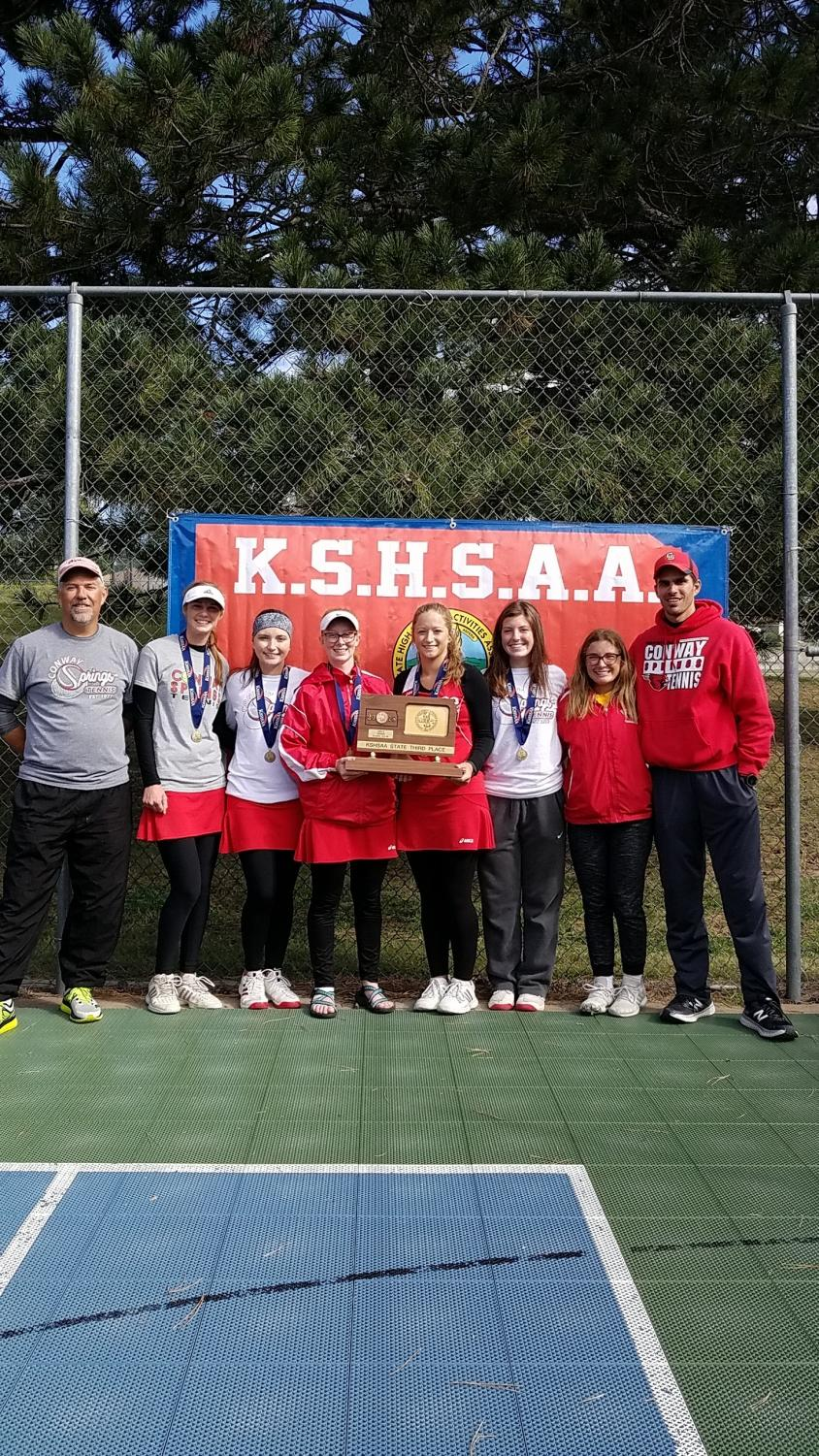 A third place plaque is brought to Conway Springs from the 3-2-1A  State Tournament. The tournament this year was held at Pratt.