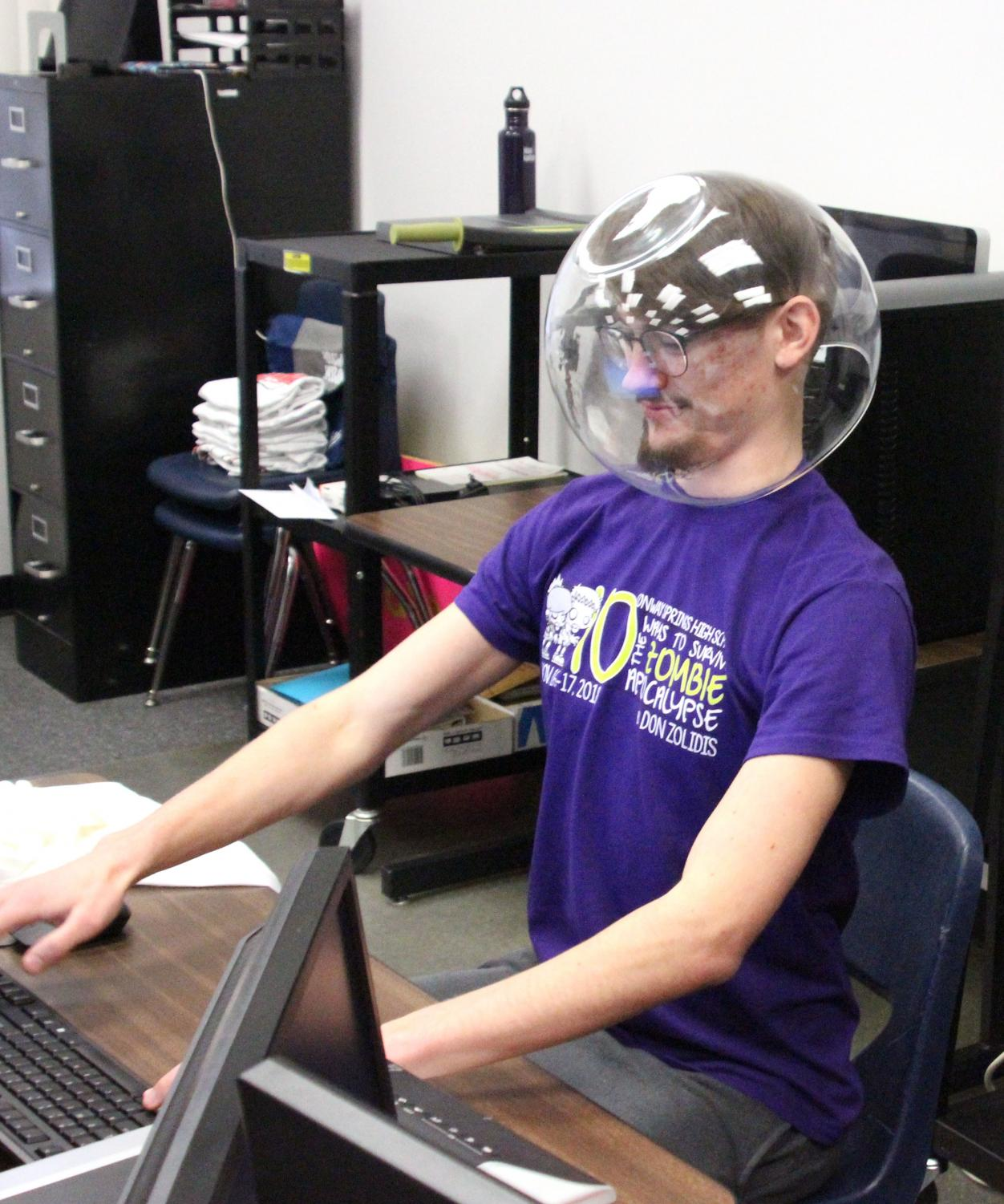 """Ben Doffing works hard on his commercial project in Video Productions. The video is the """"Not Space Suit"""" by Melon Dusk, and will be posted on Ben Jumanji."""