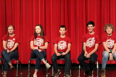 Before they give their speech, Stuco candidates gather on stage. Elections for the next year were held on Tuesday March 26.