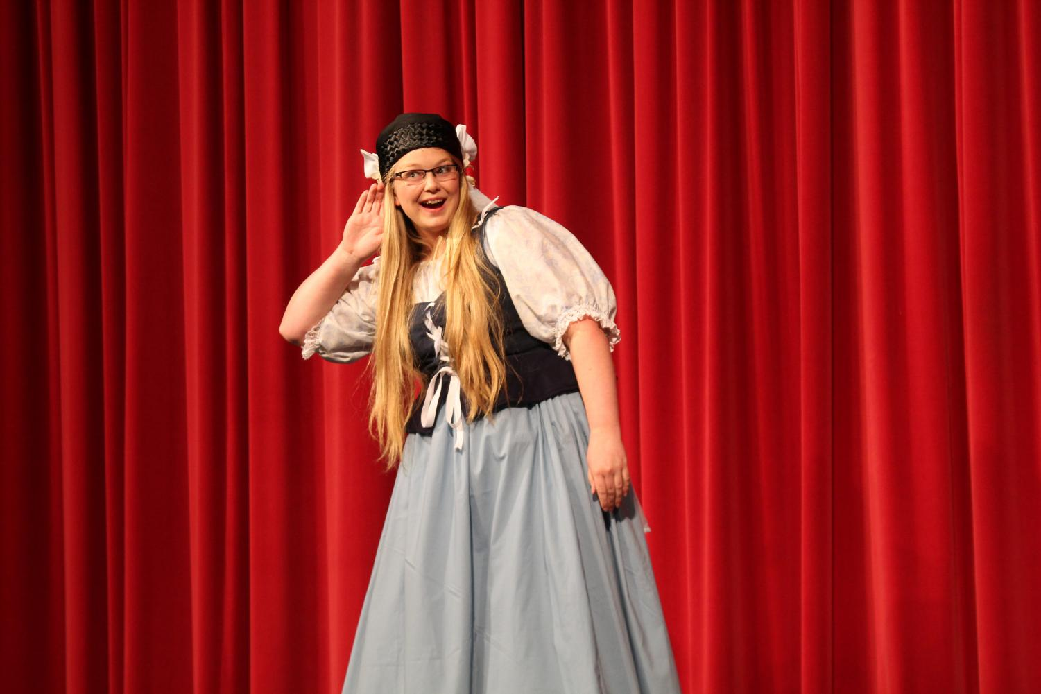 """During last years play, senior Annette Berntsen speaks in between each set as the narrator. """"I thought last year's play was one of the best that we have done, and I'm really excited about what this year's play will bring,'' Berntsen said."""