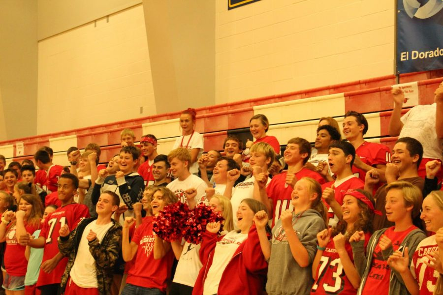 Junior class getting their spirit up before homecoming game last year.