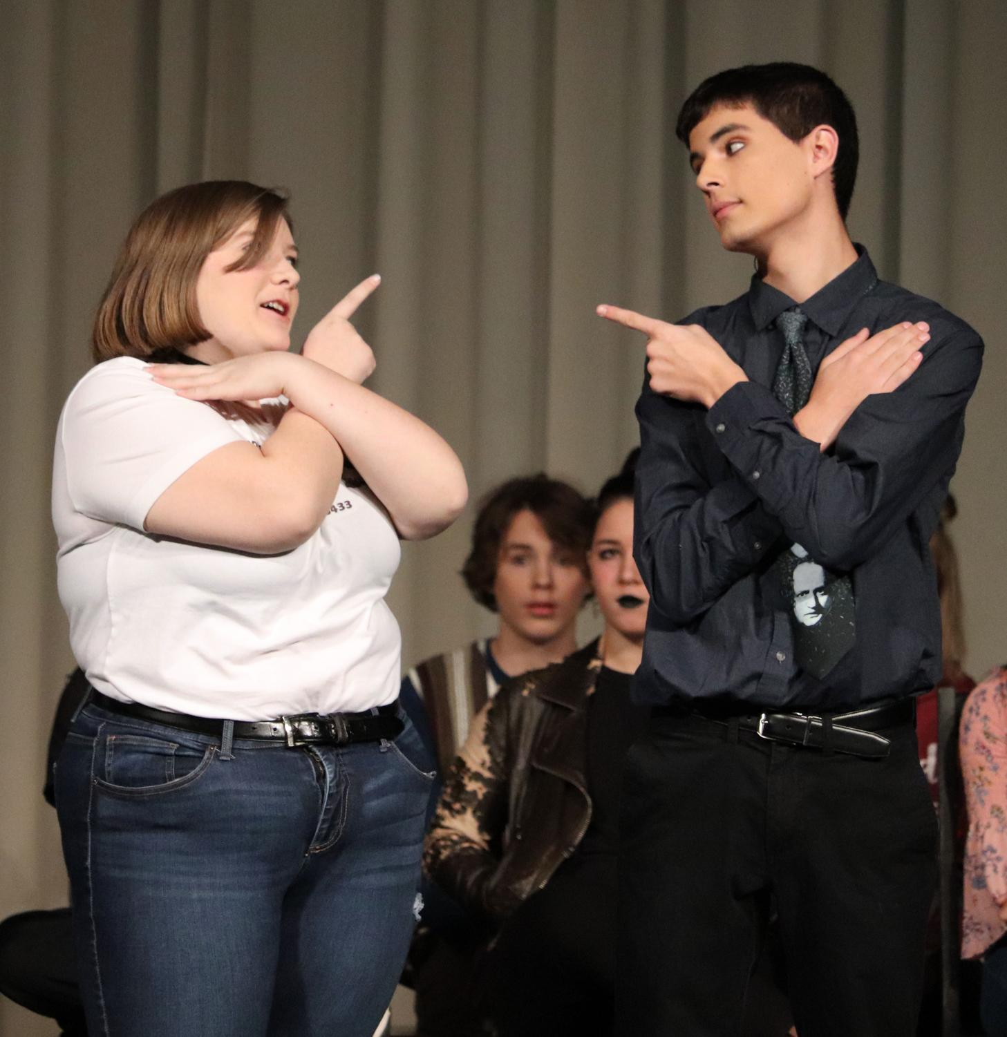 At the fall play, junior Rylie Thompson (as Clarissa Vendor) and senior Neal Zolmgann (as Mr. Scammerton) begin to dance the Macarena. This was one of the many humorous aspects included in the play