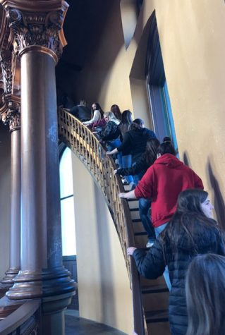 At the Capitol building, the seniors climb the steps to the top of the dome. They were able to go on the dome tour as an addition to their overall tour of the Capitol. Photo courtesy of Jennifer Kunz.