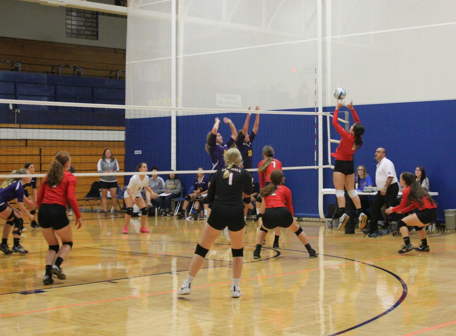 At the tournament held in Chaparral on Sept. 21, senior Karley Mooneyham tips the ball over the net.