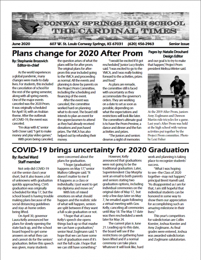 Staff publishes senior issue of the Cardinal Times