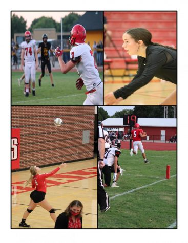 In the top left corner, junior Patrick Friess goes for a catch thrown by senior quarterback Heath Hilger. In the top right corner, junior Lauren Mercer prepares to receive a serve from the opposing team. In the bottom left corner, senior Karlie Biehler serves to the visiting team as the game comes to an end. In the bottom right corner, freshman Brayden Kunz takes the ball in for a Cardinal touchdown.