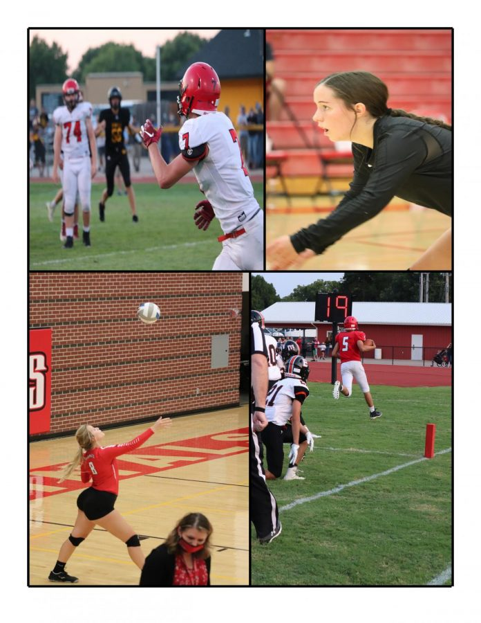 In+the+top+left+corner%2C+junior+Patrick+Friess+goes+for+a+catch+thrown+by+senior+quarterback+Heath+Hilger.+In+the+top+right+corner%2C+junior+Lauren+Mercer+prepares+to+receive+a+serve+from+the+opposing+team.+In+the+bottom+left+corner%2C+senior+Karlie+Biehler+serves+to+the+visiting+team+as+the+game+comes+to+an+end.+In+the+bottom+right+corner%2C+freshman+Brayden+Kunz+takes+the+ball+in+for+a+Cardinal+touchdown.+