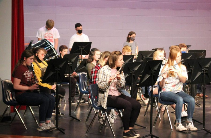 The band records their part of the Winter Concert. They went on stage during their class period to record, and members of the Audiovisual class recorded them.