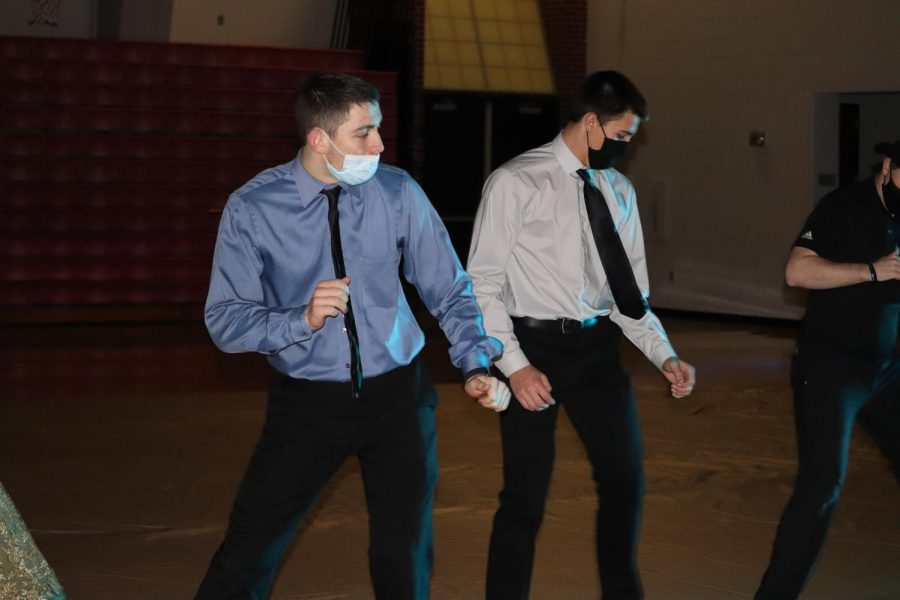During Winter Formal, senior Aidan May and sophomore Zane Zoglmann dance. The dance was held on Feb. 6 and put on by the student council.