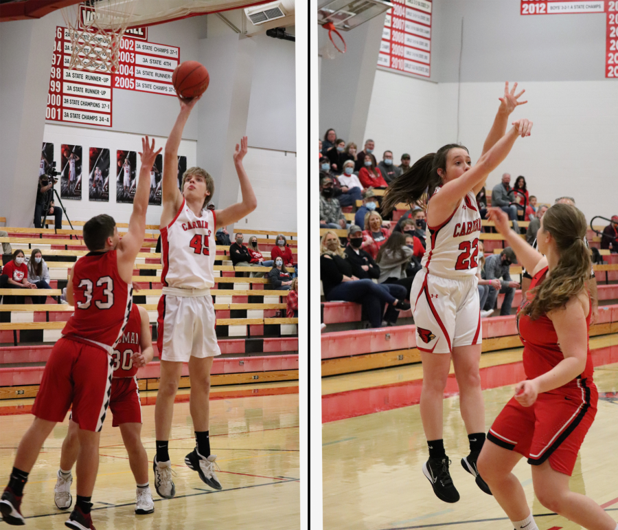 """Throughout the season the Cardinals fought many battles. In this picture freshman Nash Johnsen and freshman Haylee Osner shoot the ball for Cardinal points against the Kingman Eagles. """"This season was a good season,"""" senior Zach Osner said. """"I was sad to know I'll never play again."""""""