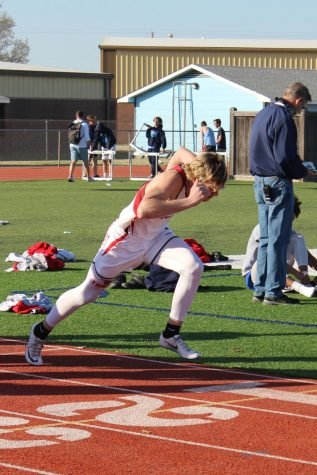 Junior Ian Soloman runs the 100-meter in the fast heat April 1. The first track meet of the year was held at Clearwater.