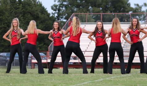 "The dance team performs on the football field in September. This dance was to ""Shake It Off."""